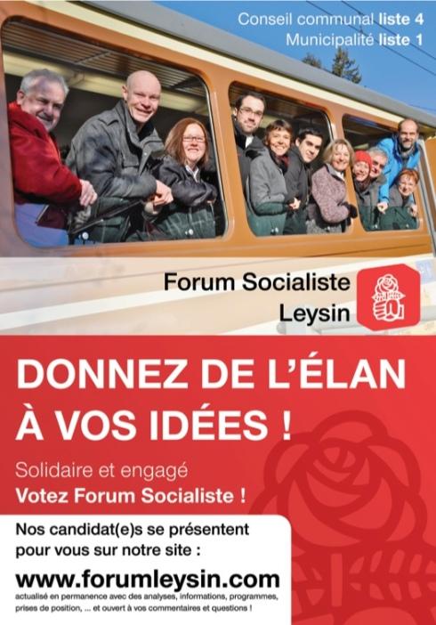 Affiche de groupe du forum socialiste de Leysin pour les élections communales 2011