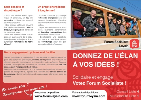 Recto du tout-ménage du Forum Socialiste de Leysin