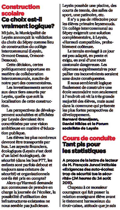 Article courrier des lecteurs 24h 31.8 2011 Ecole à Leysin