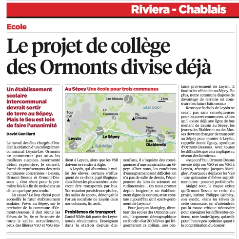 Le projet de collège des Ormonts divise déjà